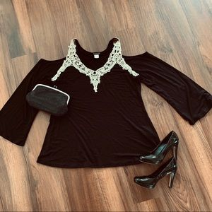 Black Blouse with Embroidered Detail. XL